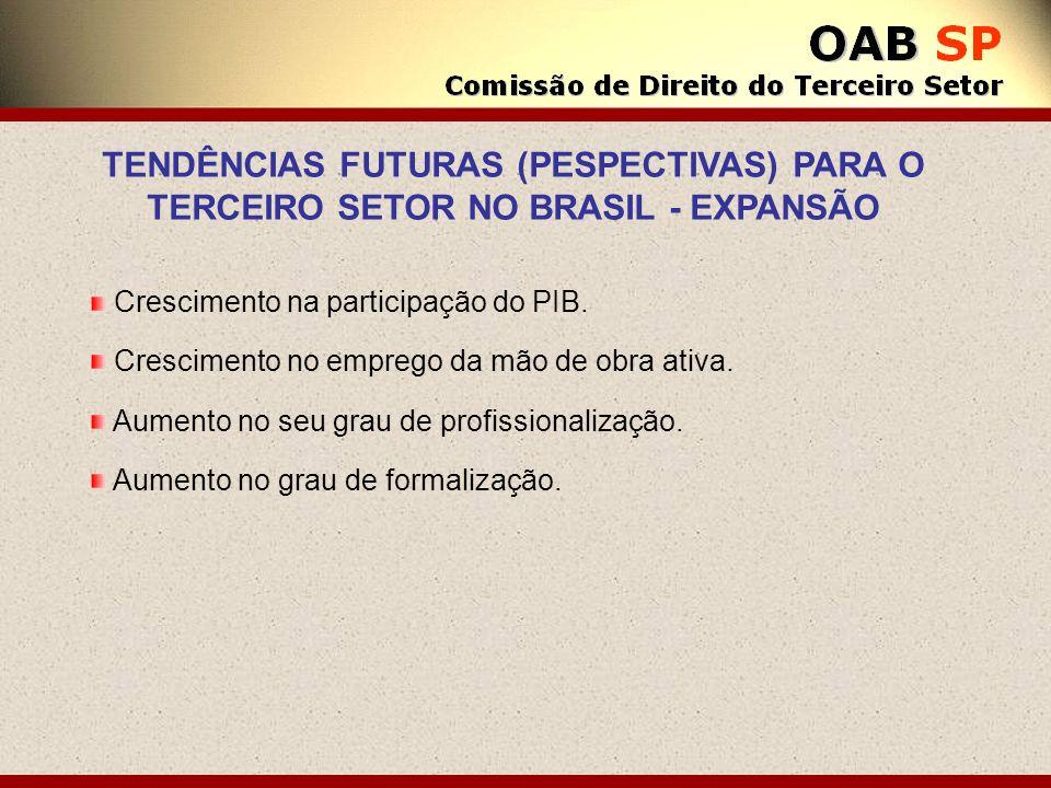 TENDÊNCIAS FUTURAS (PESPECTIVAS) PARA O TERCEIRO SETOR NO BRASIL - EXPANSÃO