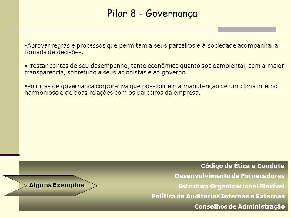 Pilar 8 - Governança Aprovar regras e processos que permitam a seus parceiros e à sociedade acompanhar a tomada de decisões.