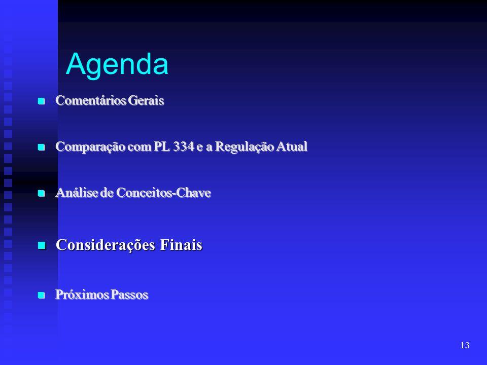 Agenda Considerações Finais Comentários Gerais