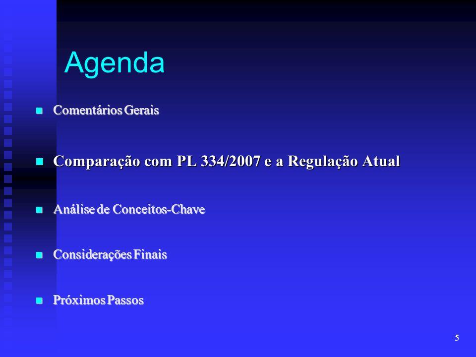 Agenda Comparação com PL 334/2007 e a Regulação Atual