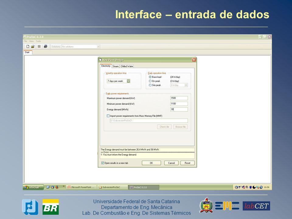 Interface – entrada de dados