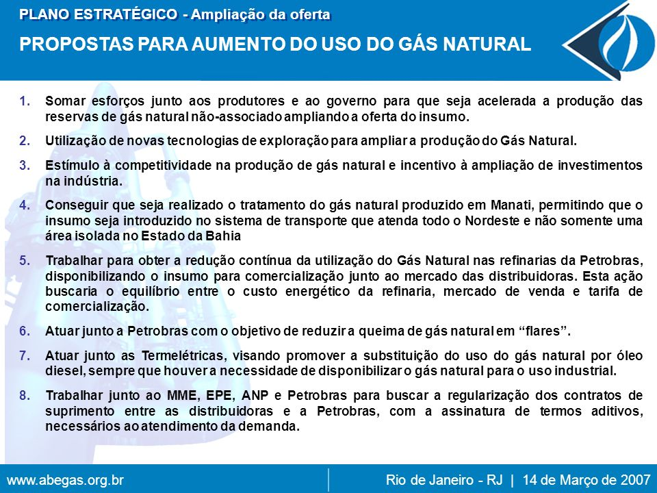 PROPOSTAS PARA AUMENTO DO USO DO GÁS NATURAL