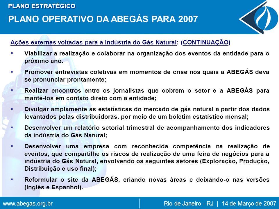 PLANO OPERATIVO DA ABEGÁS PARA 2007