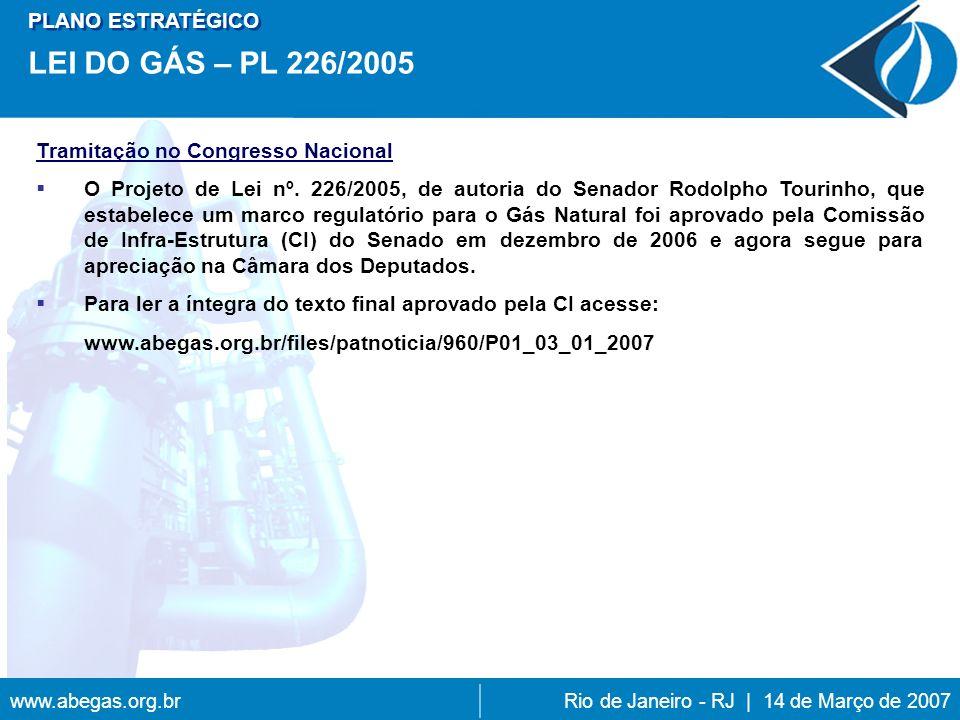 LEI DO GÁS – PL 226/2005 PLANO ESTRATÉGICO
