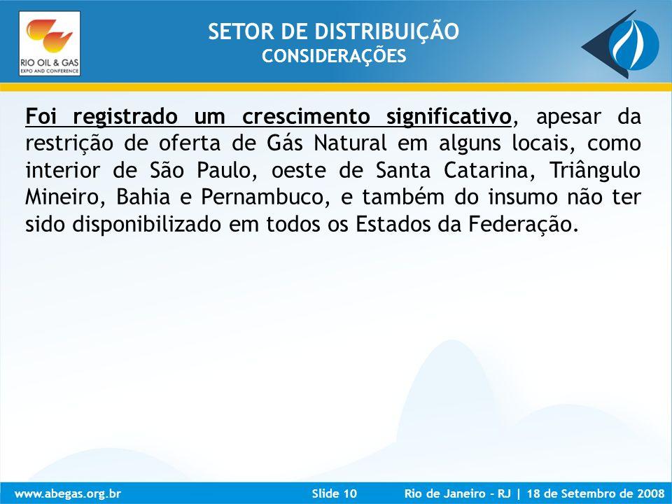 SETOR DE DISTRIBUIÇÃO CONSIDERAÇÕES.