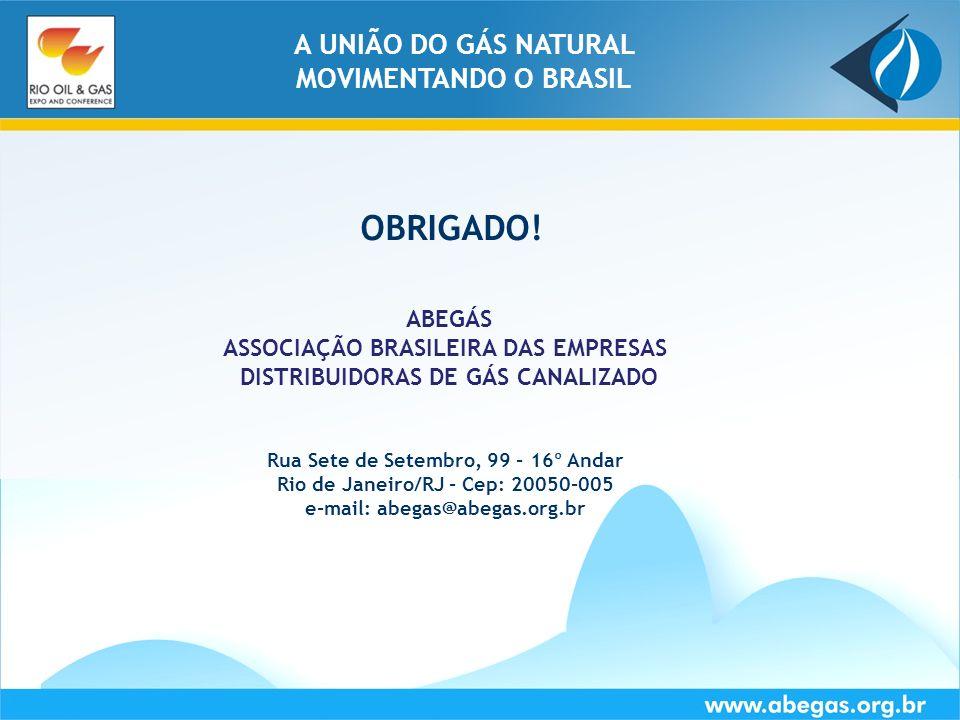OBRIGADO! A UNIÃO DO GÁS NATURAL MOVIMENTANDO O BRASIL ABEGÁS