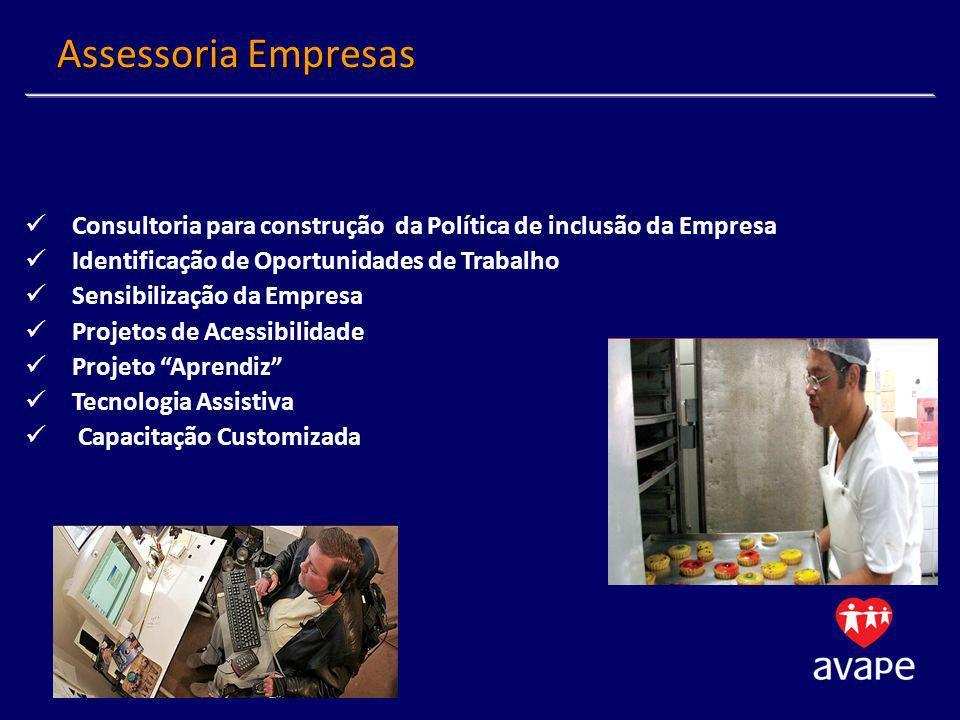 Assessoria Empresas Consultoria para construção da Política de inclusão da Empresa. Identificação de Oportunidades de Trabalho.