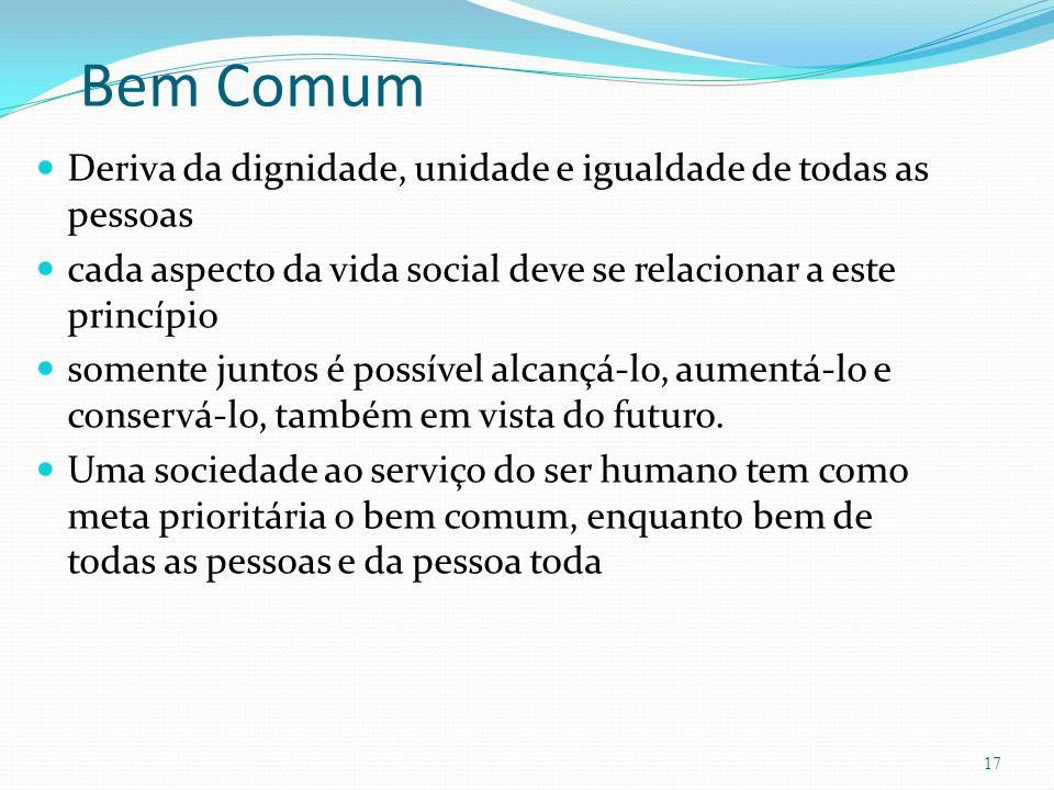 Bem Comum Deriva da dignidade, unidade e igualdade de todas as pessoas