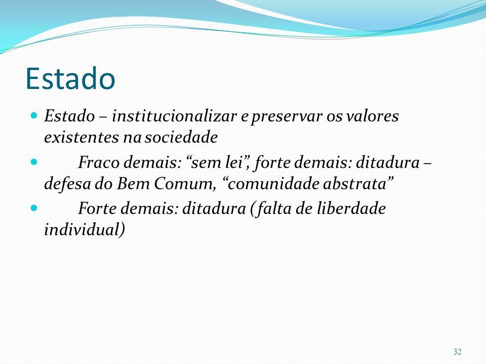 Estado Estado – institucionalizar e preservar os valores existentes na sociedade.