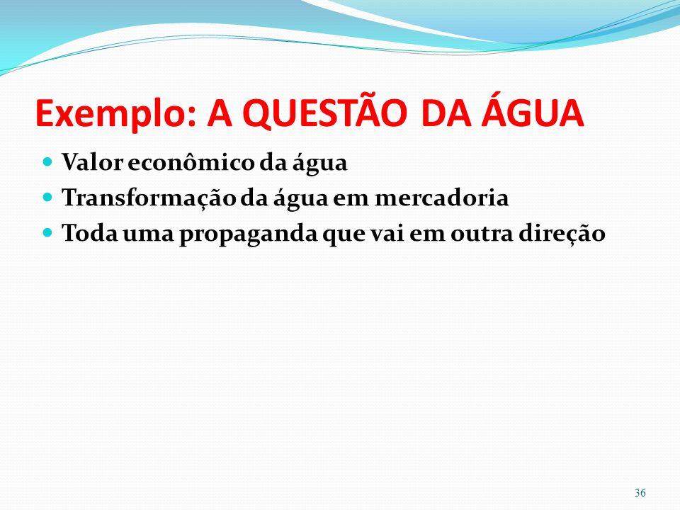 Exemplo: A QUESTÃO DA ÁGUA