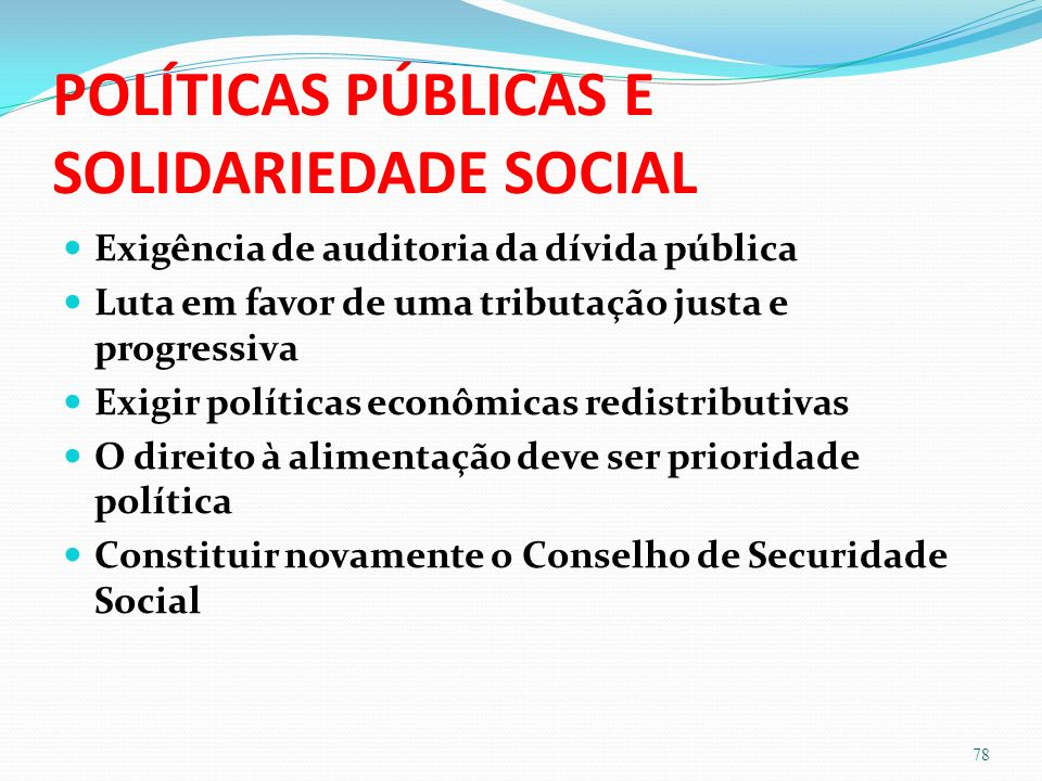 POLÍTICAS PÚBLICAS E SOLIDARIEDADE SOCIAL
