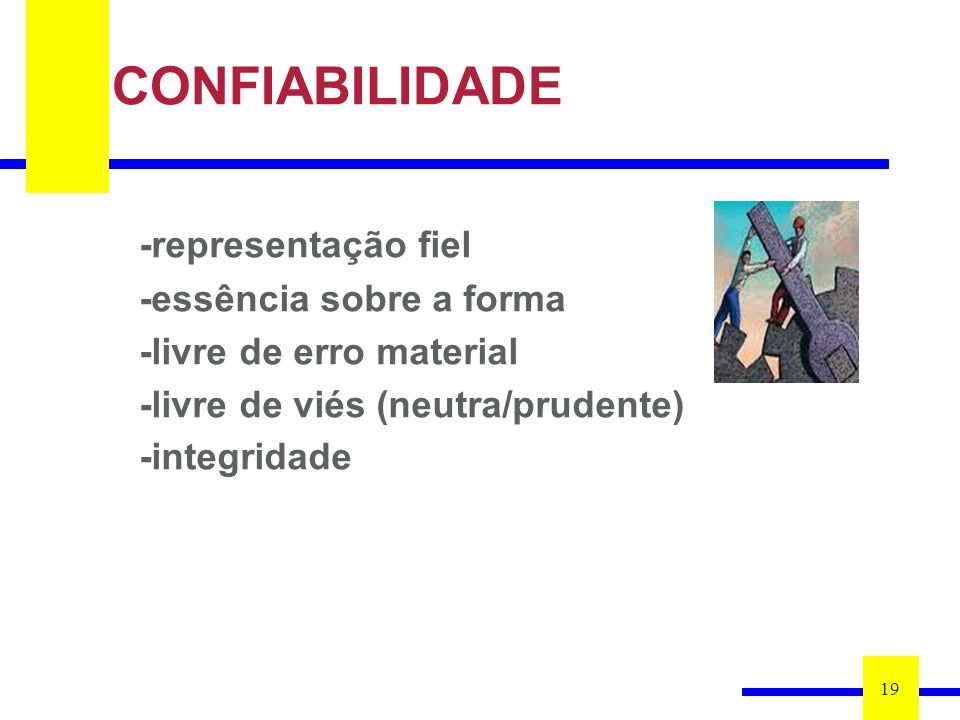 CONFIABILIDADE -representação fiel -essência sobre a forma