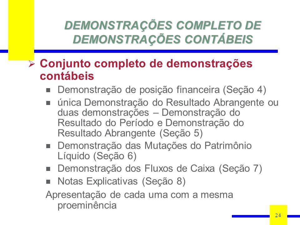 DEMONSTRAÇÕES COMPLETO DE DEMONSTRAÇÕES CONTÁBEIS