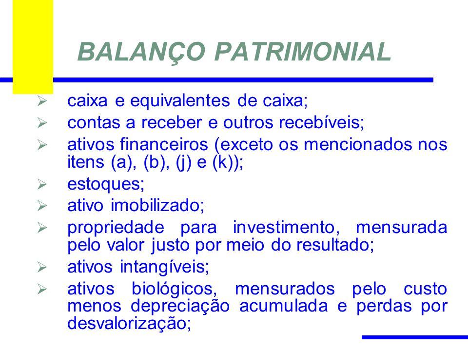BALANÇO PATRIMONIAL caixa e equivalentes de caixa;