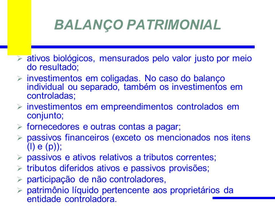 BALANÇO PATRIMONIAL ativos biológicos, mensurados pelo valor justo por meio do resultado;