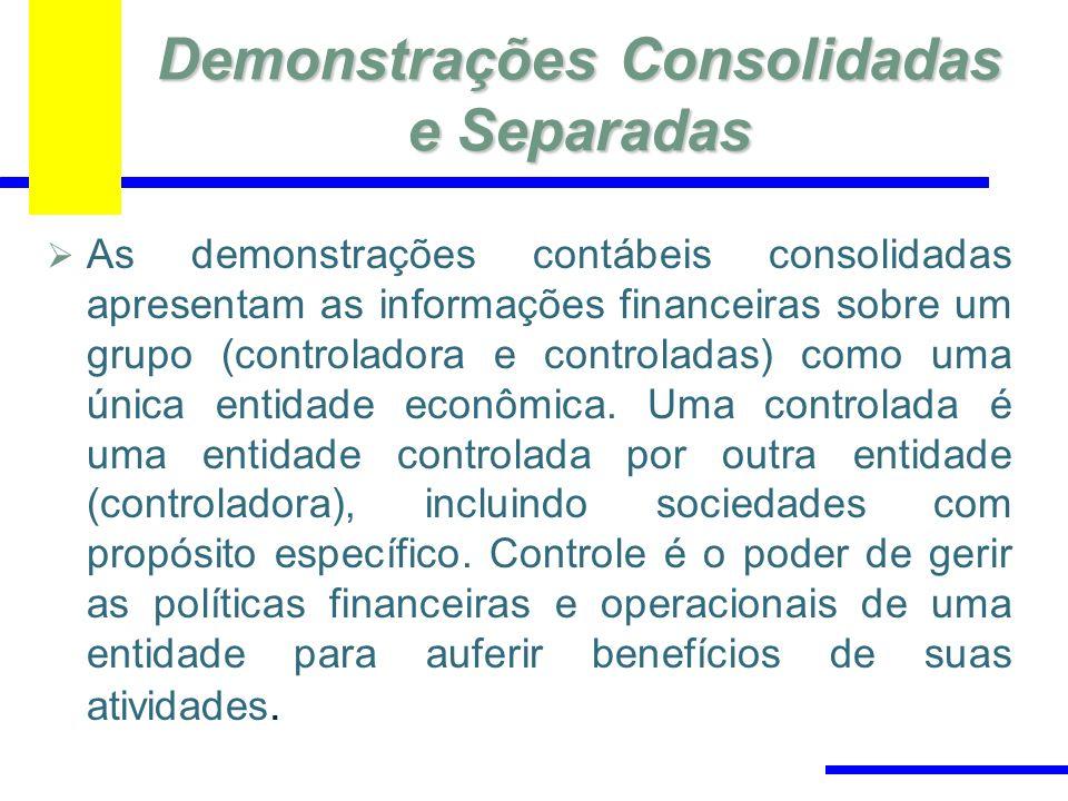Demonstrações Consolidadas e Separadas