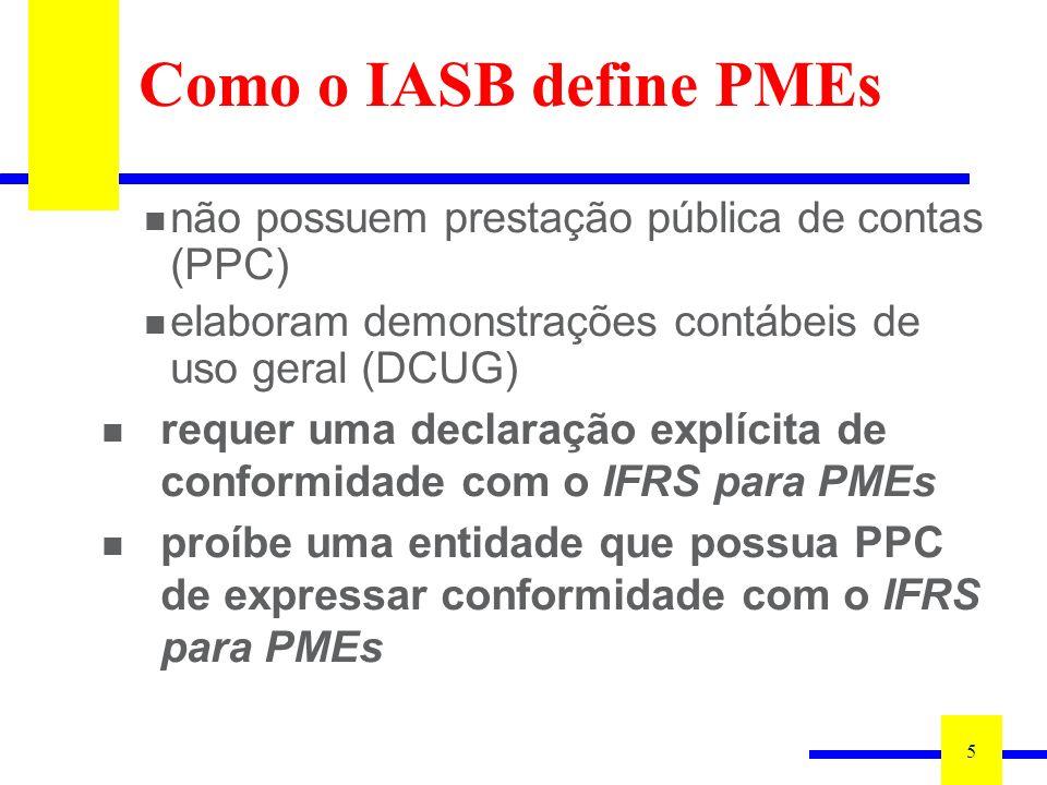 Como o IASB define PMEs não possuem prestação pública de contas (PPC)