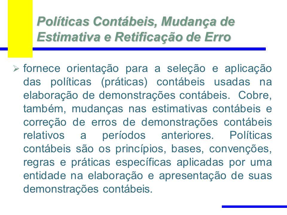 Políticas Contábeis, Mudança de Estimativa e Retificação de Erro