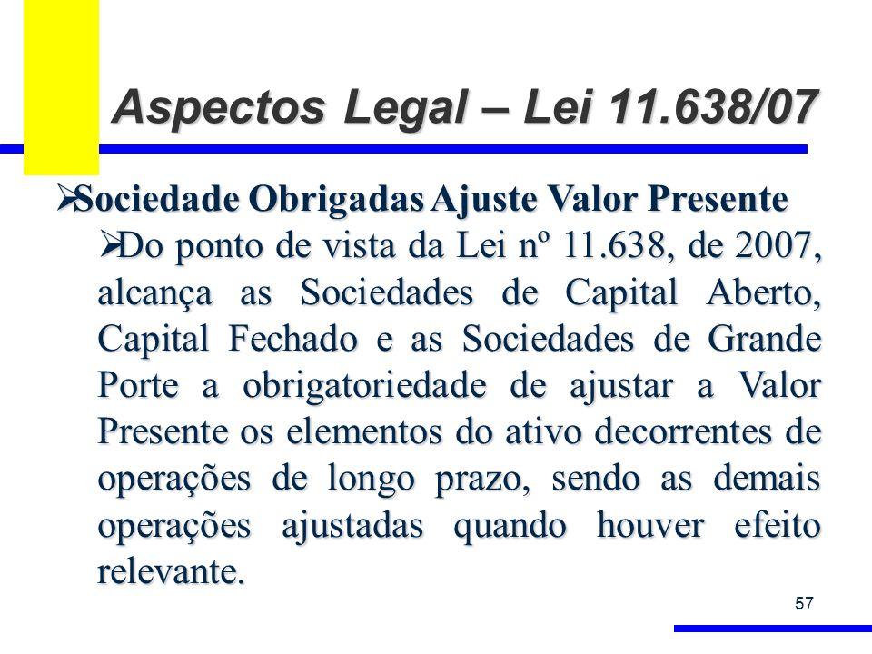 Aspectos Legal – Lei 11.638/07 Sociedade Obrigadas Ajuste Valor Presente.