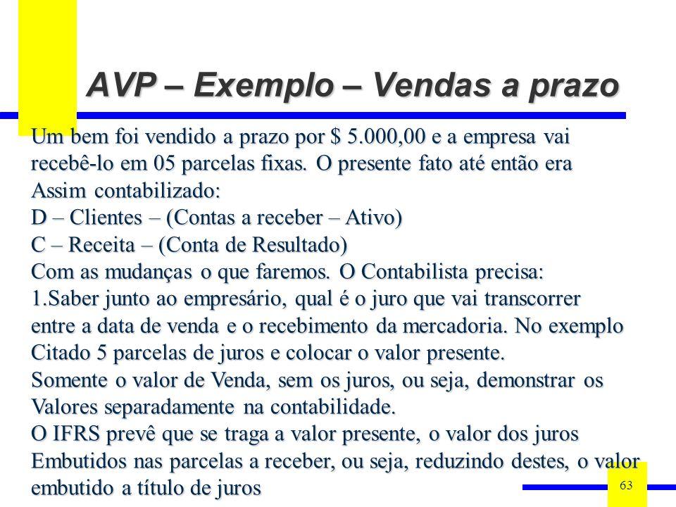 AVP – Exemplo – Vendas a prazo