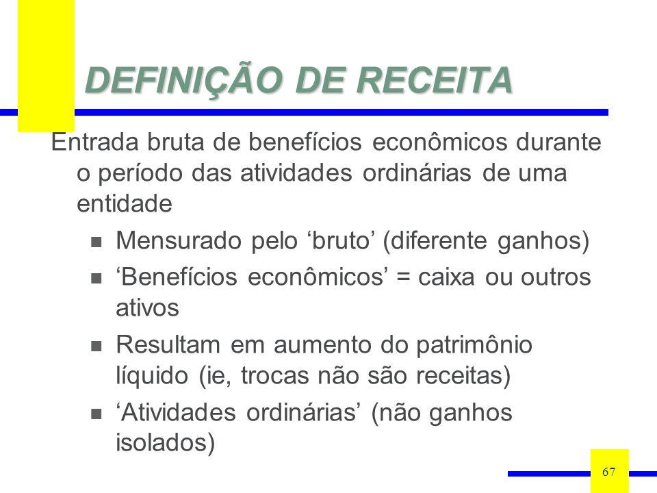 DEFINIÇÃO DE RECEITA Entrada bruta de benefícios econômicos durante o período das atividades ordinárias de uma entidade.