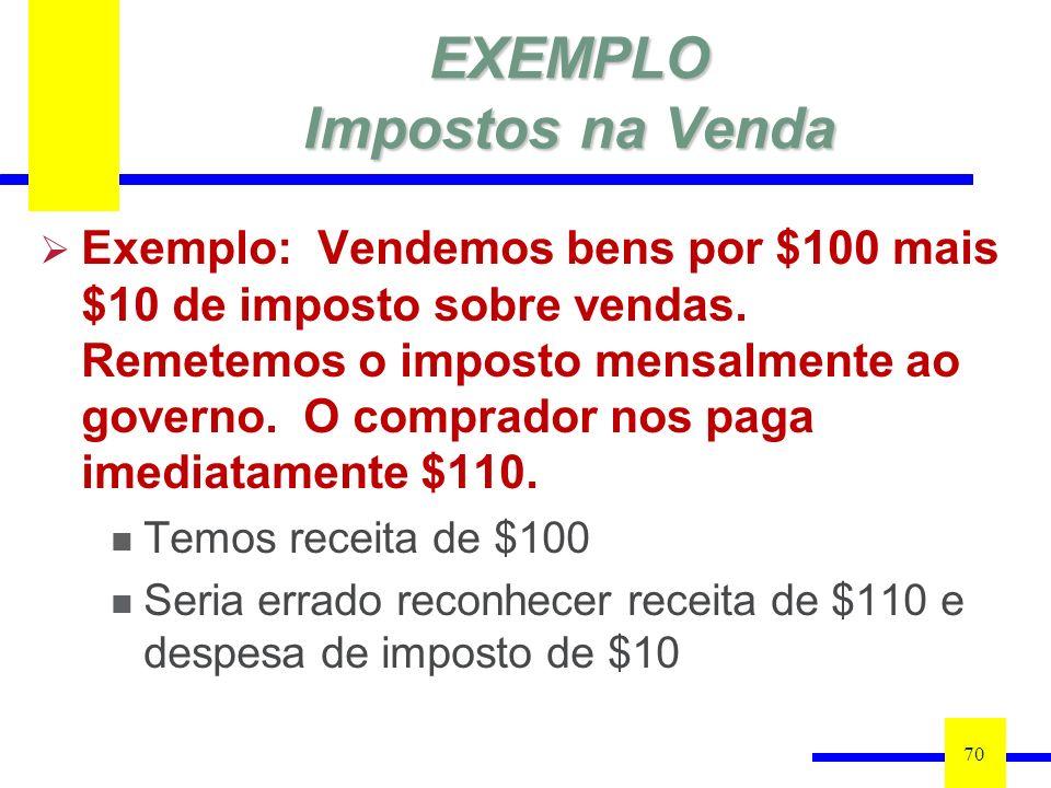 EXEMPLO Impostos na Venda