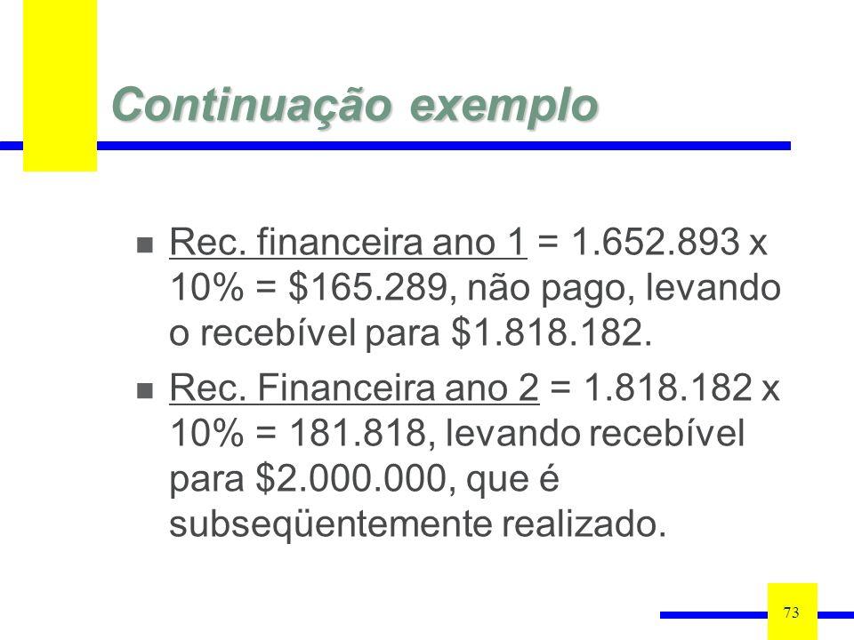 Continuação exemplo Rec. financeira ano 1 = 1.652.893 x 10% = $165.289, não pago, levando o recebível para $1.818.182.