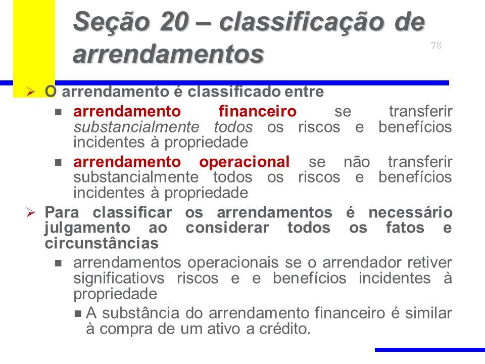 Seção 20 – classificação de arrendamentos