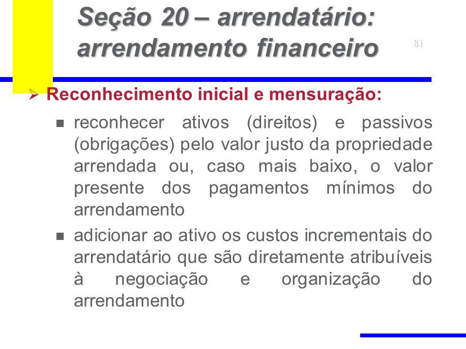 Seção 20 – arrendatário: arrendamento financeiro