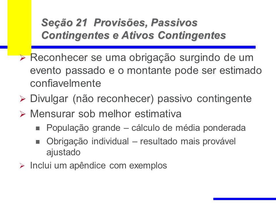 Seção 21 Provisões, Passivos Contingentes e Ativos Contingentes
