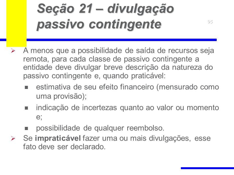 Seção 21 – divulgação passivo contingente