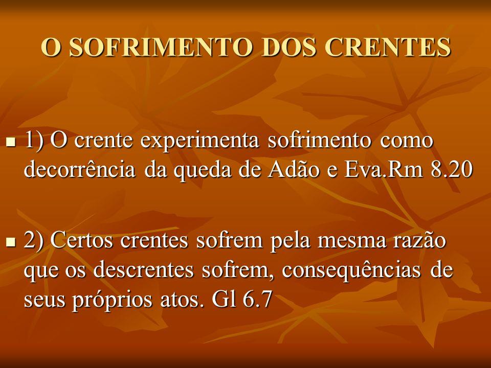 O SOFRIMENTO DOS CRENTES