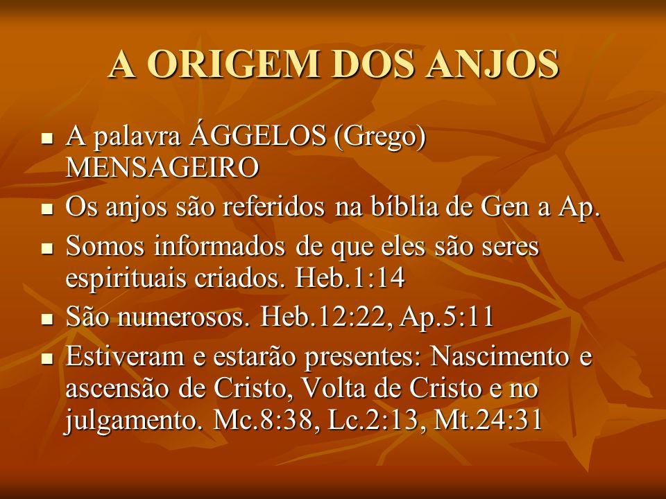 A ORIGEM DOS ANJOS A palavra ÁGGELOS (Grego) MENSAGEIRO