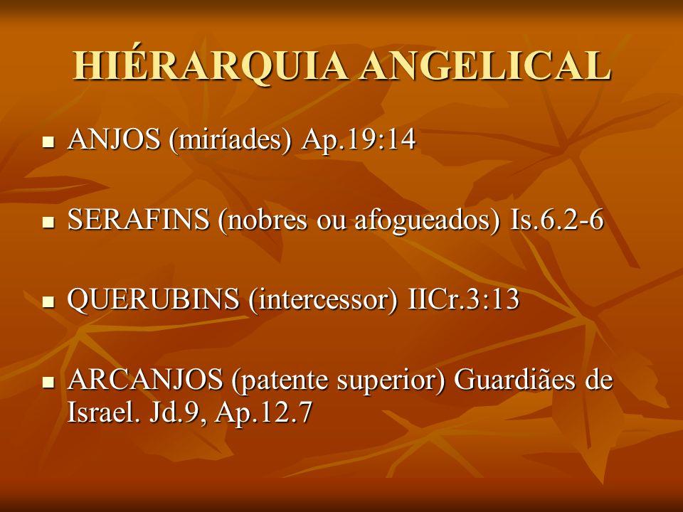 HIÉRARQUIA ANGELICAL ANJOS (miríades) Ap.19:14