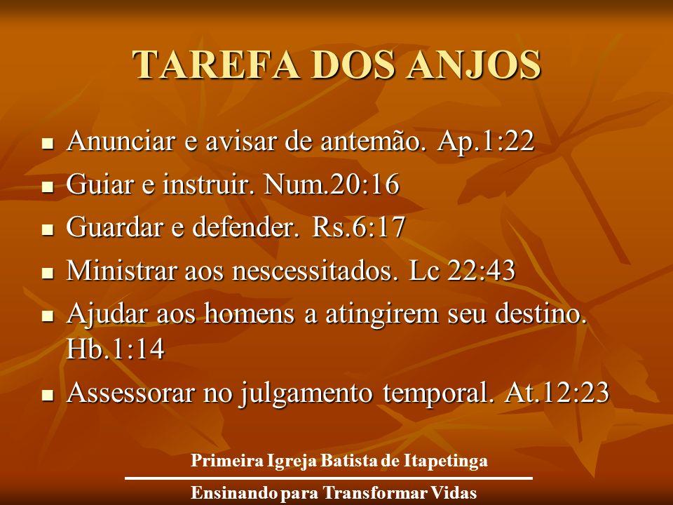 TAREFA DOS ANJOS Anunciar e avisar de antemão. Ap.1:22