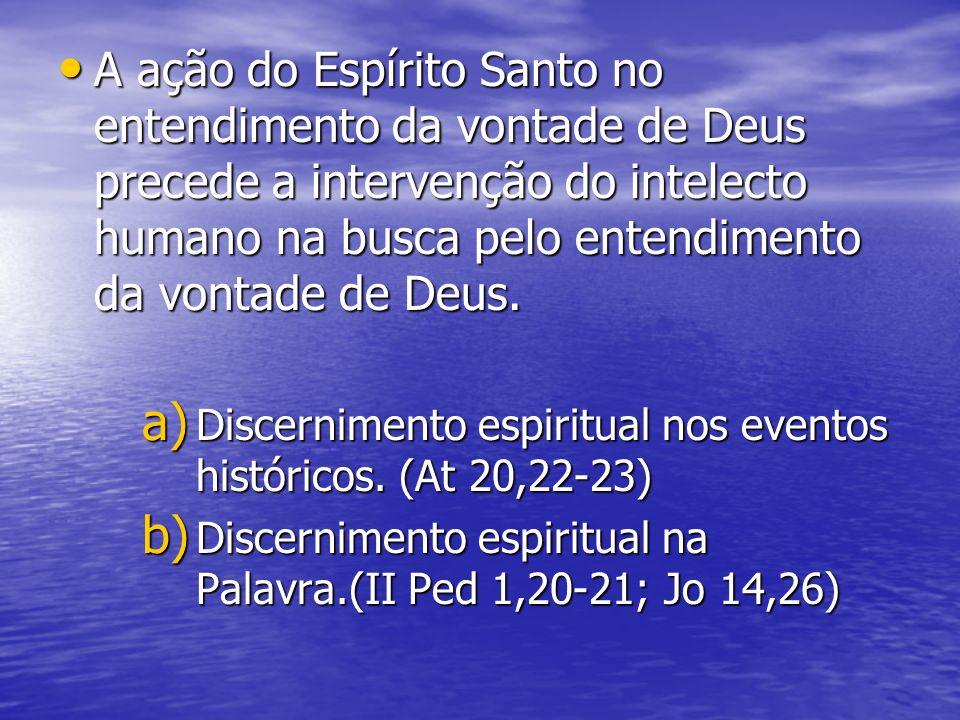 A ação do Espírito Santo no entendimento da vontade de Deus precede a intervenção do intelecto humano na busca pelo entendimento da vontade de Deus.