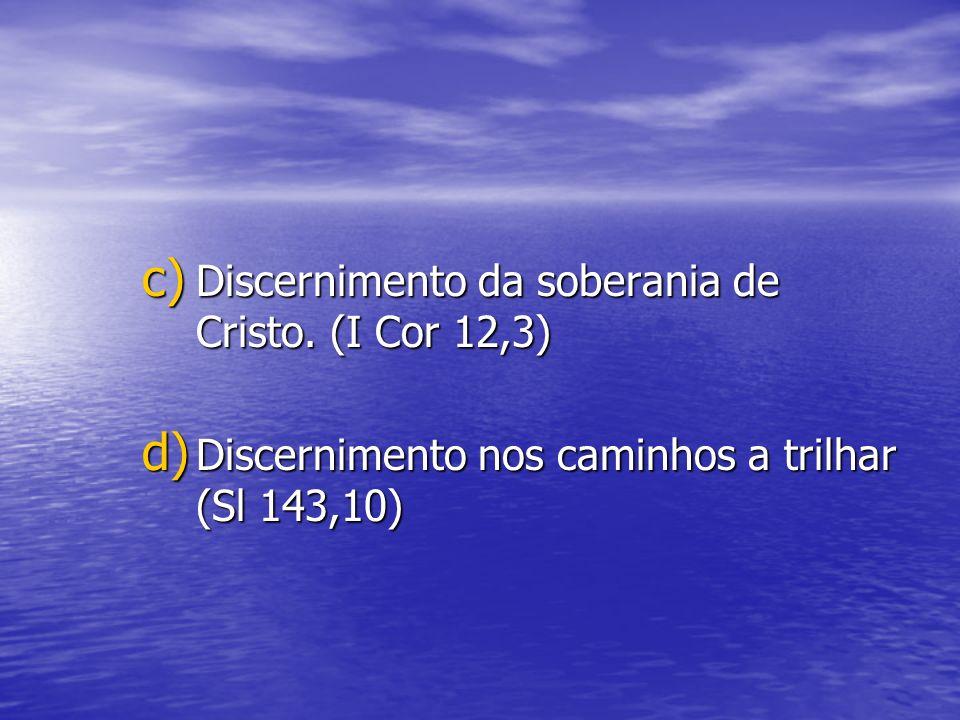 Discernimento da soberania de Cristo. (I Cor 12,3)