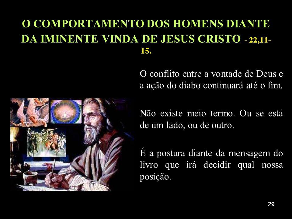O COMPORTAMENTO DOS HOMENS DIANTE DA IMINENTE VINDA DE JESUS CRISTO - 22,11-15.