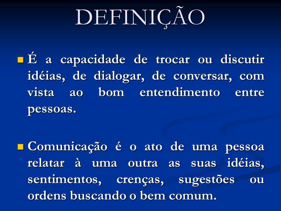 DEFINIÇÃO É a capacidade de trocar ou discutir idéias, de dialogar, de conversar, com vista ao bom entendimento entre pessoas.