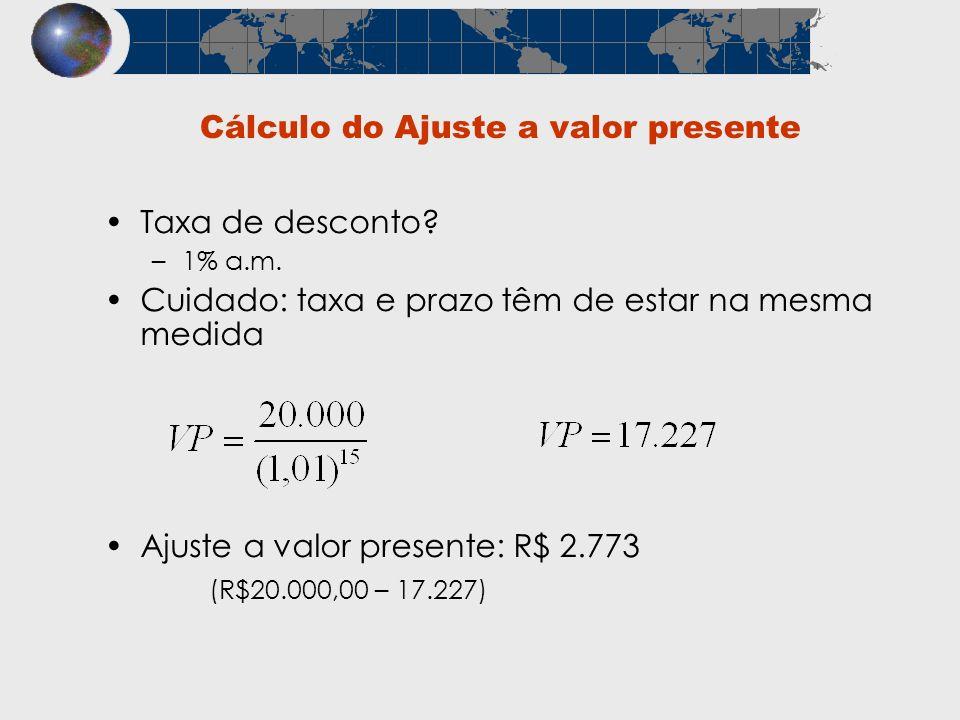 Cálculo do Ajuste a valor presente