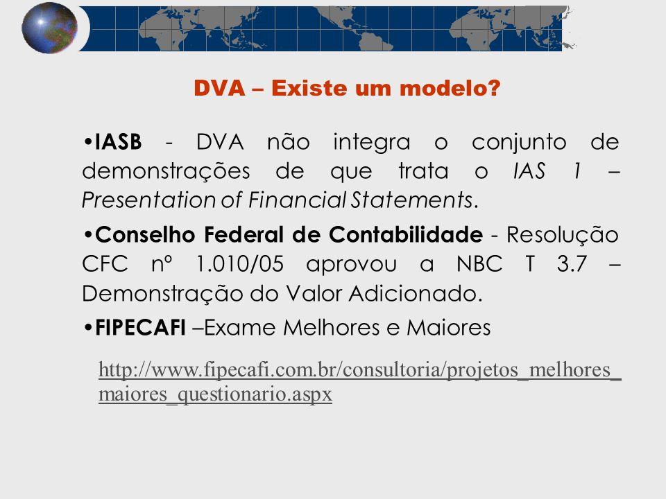 DVA – Existe um modelo IASB - DVA não integra o conjunto de demonstrações de que trata o IAS 1 – Presentation of Financial Statements.