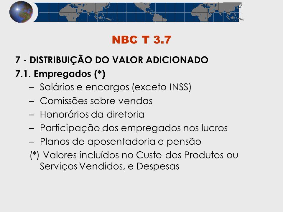 NBC T 3.7 7 - DISTRIBUIÇÃO DO VALOR ADICIONADO 7.1. Empregados (*)