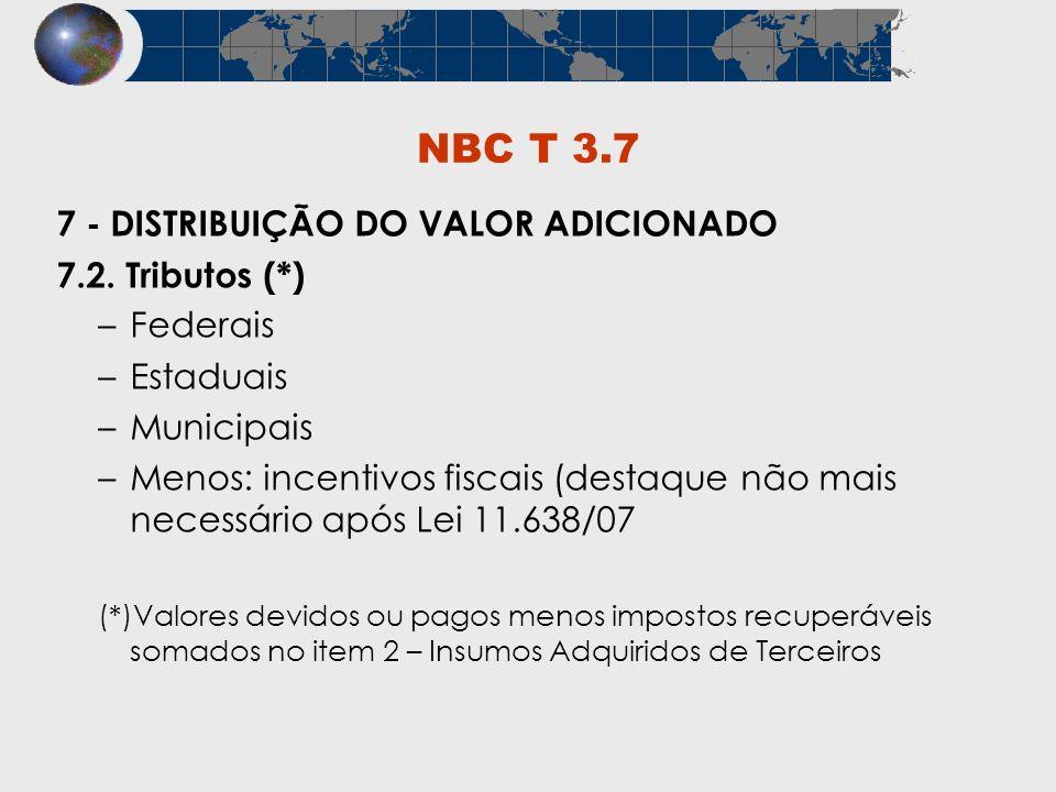 NBC T 3.7 7 - DISTRIBUIÇÃO DO VALOR ADICIONADO 7.2. Tributos (*)