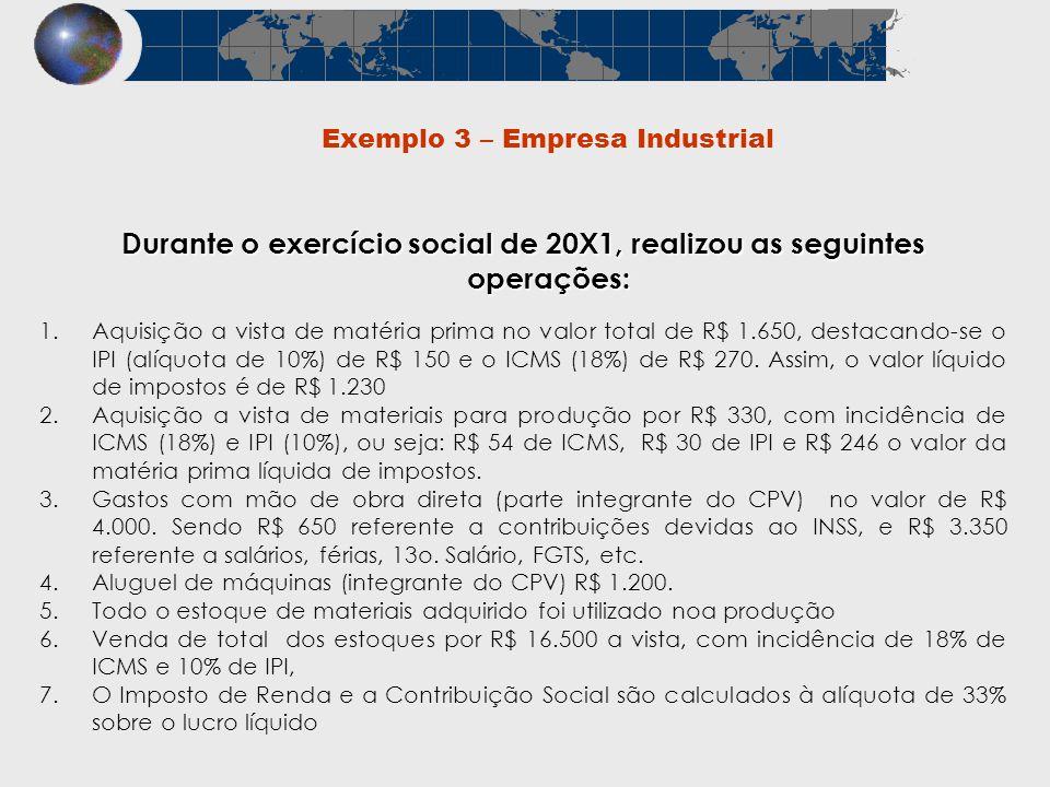 Exemplo 3 – Empresa Industrial