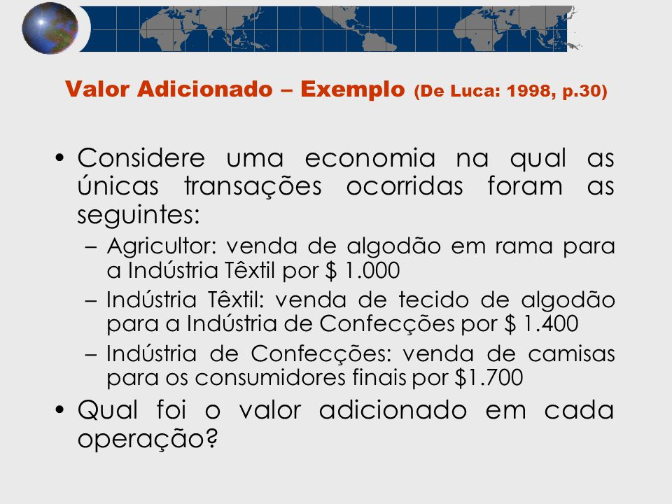 Valor Adicionado – Exemplo (De Luca: 1998, p.30)