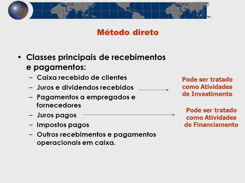 Classes principais de recebimentos e pagamentos: