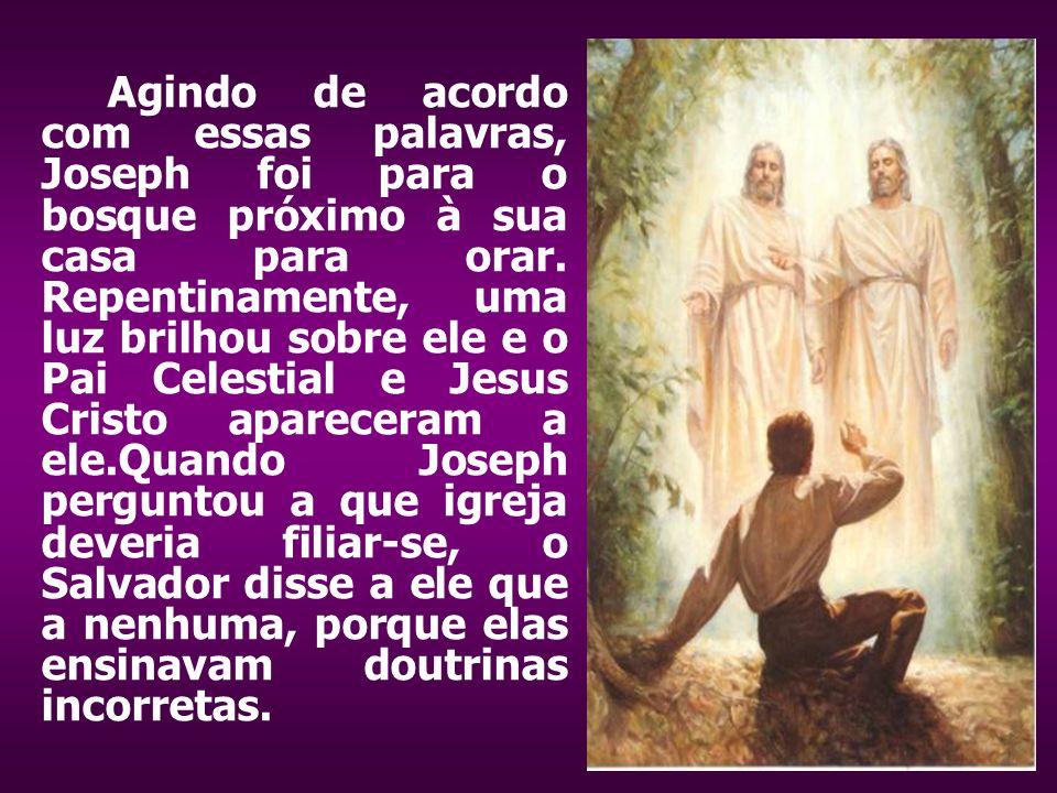 Agindo de acordo com essas palavras, Joseph foi para o bosque próximo à sua casa para orar.