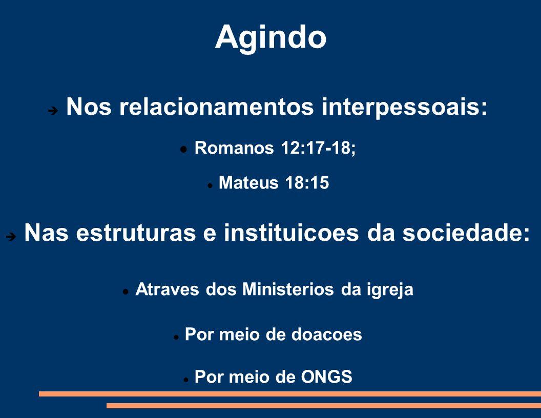Agindo Nos relacionamentos interpessoais: Romanos 12:17-18;