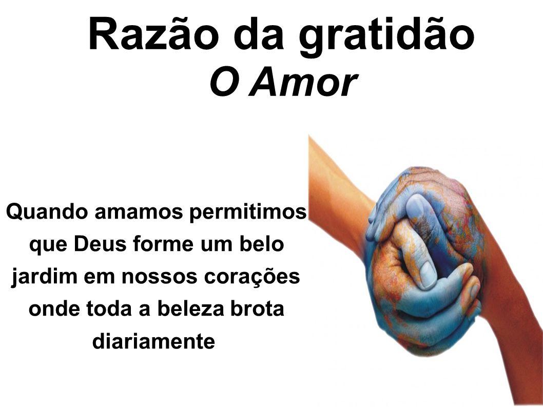 Razão da gratidão O Amor Quando amamos permitimos