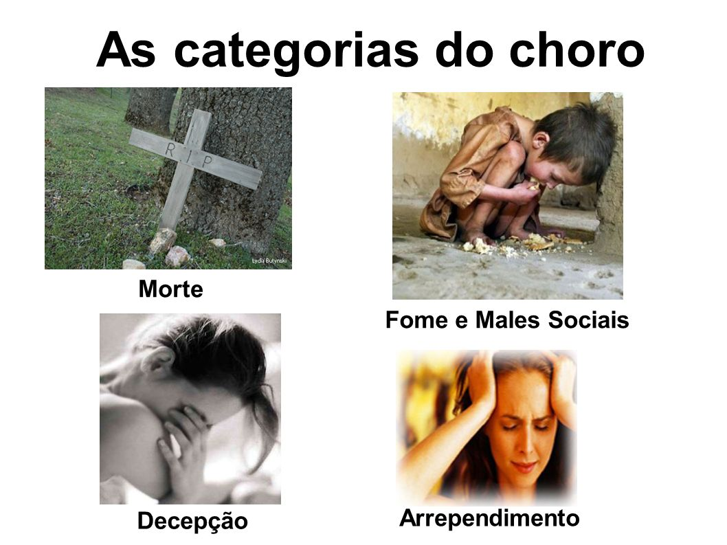 As categorias do choro Morte Fome e Males Sociais Arrependimento
